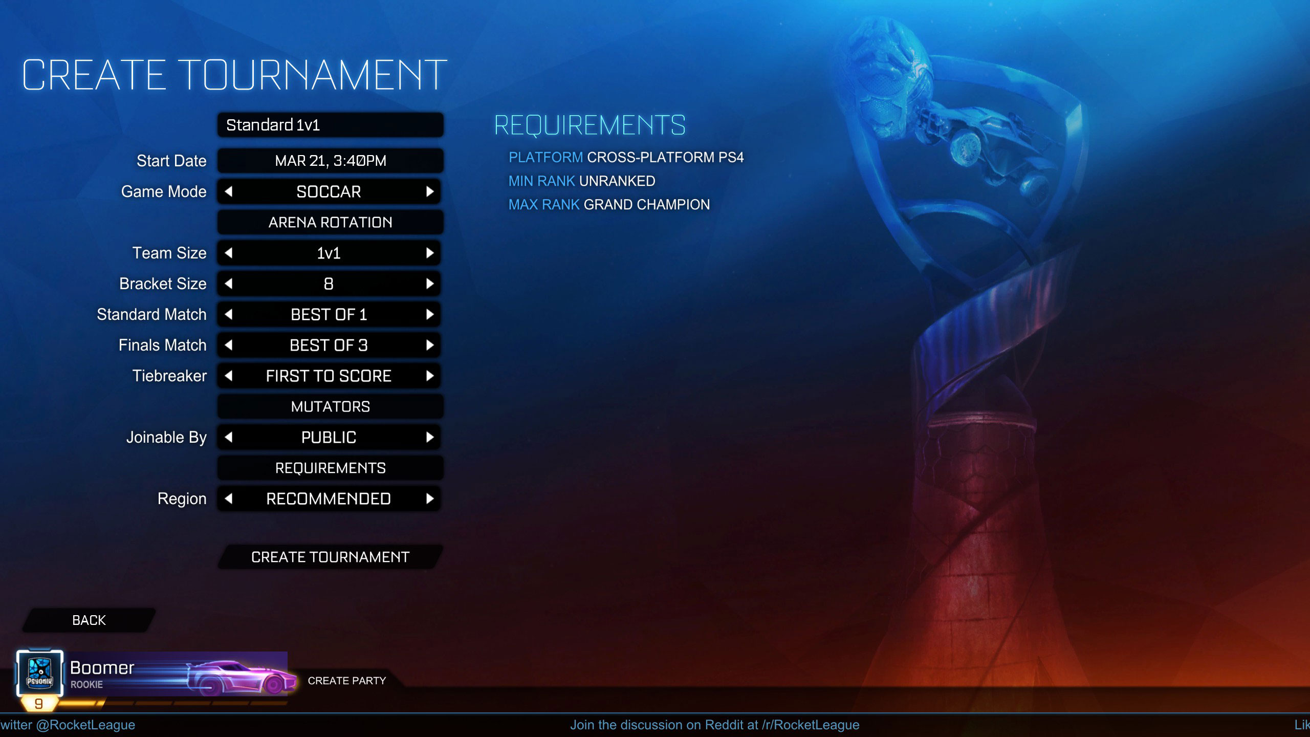 Rocket League's Tournament Update Races to Switch Soon